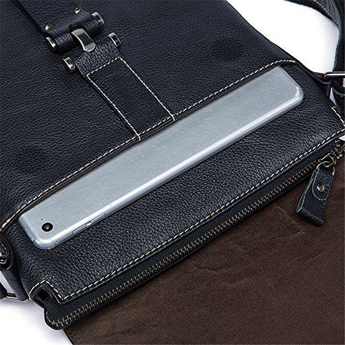 Genda 2Archer Vera Pelle Borsa Nera iPad Borsa a Tracolla Messenger per gli Uomini (24cm*4cm* 27cm)