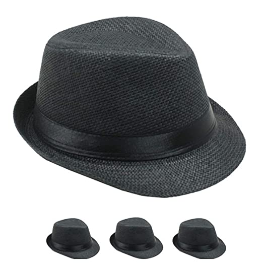 510443871a63 Banded Fedora HAT for Kids Trilby Gangster Panama Classic Vintage Short  Brim Style