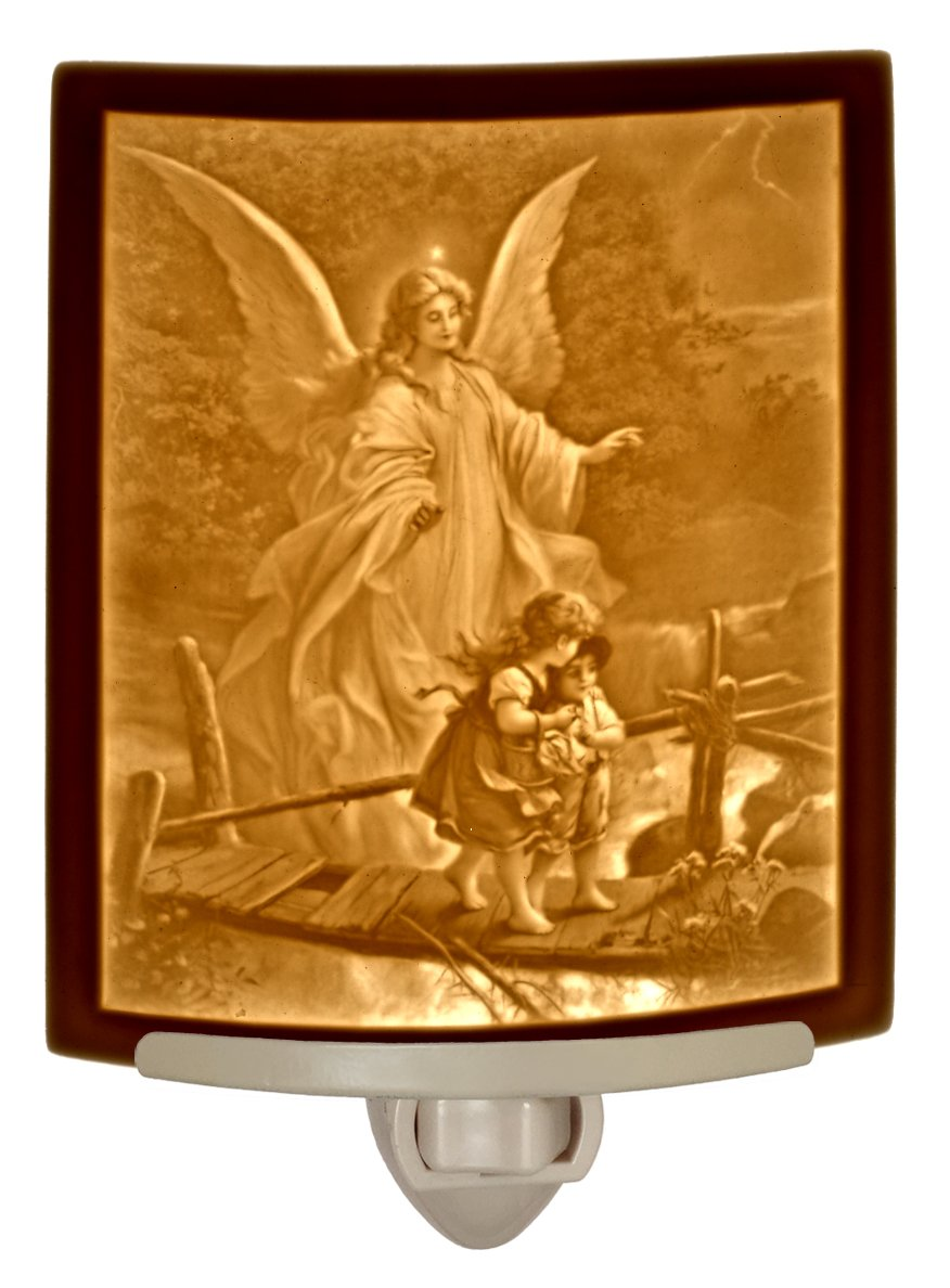 Angel At the Bridge - Curved Porcelain Lithophane Night Light