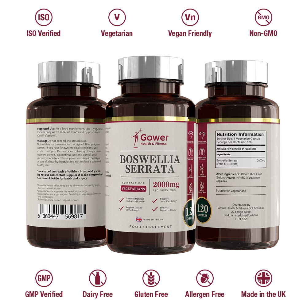 Extracto de Boswellia Serrata (Incienso) Cápsulas 5: 1 (2000 mg equivalente) | 120 cápsulas | POTENTE ANTI INFLAMATORIO | Para la salud de los ...
