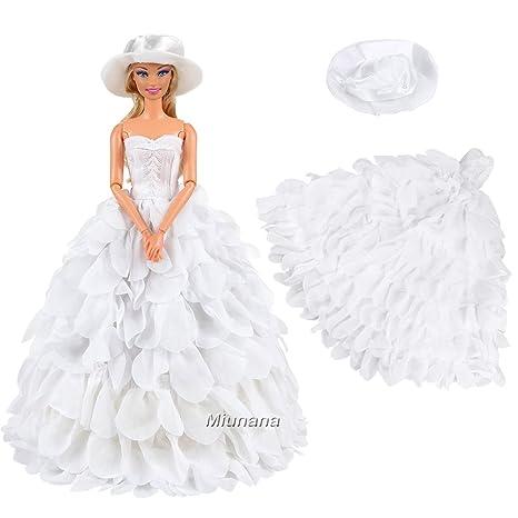 fd889c1e7c04 Miunana Cappello E Buddle Vestito Da Sposa Grande Per Bambola Barbie Dolls  - Bianco