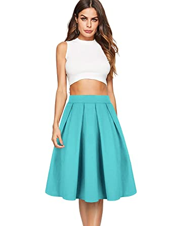 0644d57ec8c Beluring Womens High Waist Flared Midi Skirts with Pockets  Amazon.co.uk   Clothing