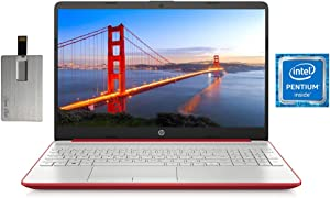 "2020 HP Pavilion 15.6"" HD Laptop Computer, Intel Dual-core Pentium Processor, 8GB RAM, 128GB SSD, HD Webcam, Intel UHD Graphics 605, Bluetooth, USB-C, HDMI, Win 10, Scarlet Red, 32GB SnowBell USB Card"
