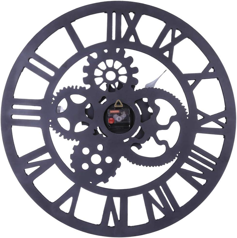 TETAKE Vintage Horloge Murale /Ø 60 cm XXXL Silencieuse Pendule en Bois Horloge Murale Industriel Pendule Industrielle Grande Horloge Murale Geante Decorative R/étro Pendule Murales