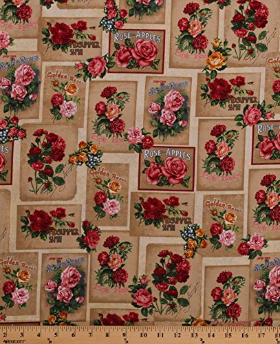 Cotton Roses Rose Species Kinds Types Red Pink Golden Roses Cards Rectangles Flowers Floral Bouquets Garden Heirloom Diary Antique Vintage Cotton Fabric Print by The Yard (AOG-16067-199antique)