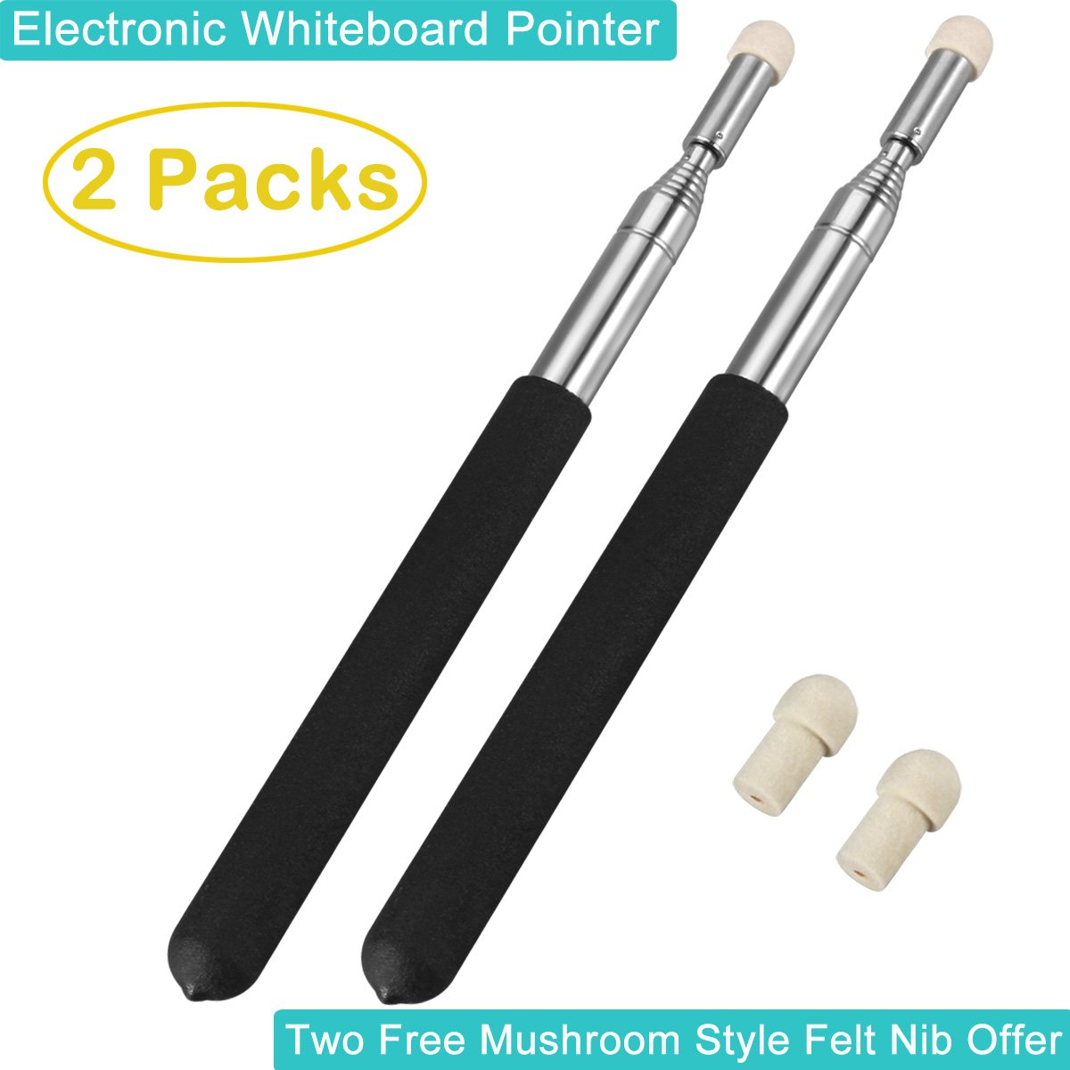 Telescoping Pointers for Teachers, 2 Pcs BonyTek Classroom Whiteboard Teacher Pointer Retractable Presentation Teaching Pointer Stick for Teachers Coach Presenter, Extra 2 Felt NIB, Extends to 39 Inch