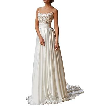 0c48abef936c Illusion Sheer Neck Beach Lace Chiffon Wedding Dress Keyhole Back Bridal  Gown for Women UB109 at Amazon Women's Clothing store: