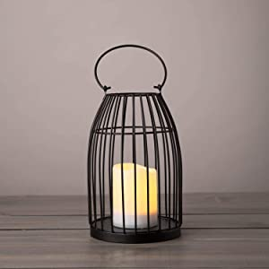 Decorative Solar Candle Lantern - 10 Inch, Vintage Round Birdcage Style, Black Metal, Solar Powered Pillar Candle, Waterproof for Outdoor Lighting, Hanging Hook, Garden and Patio Decor