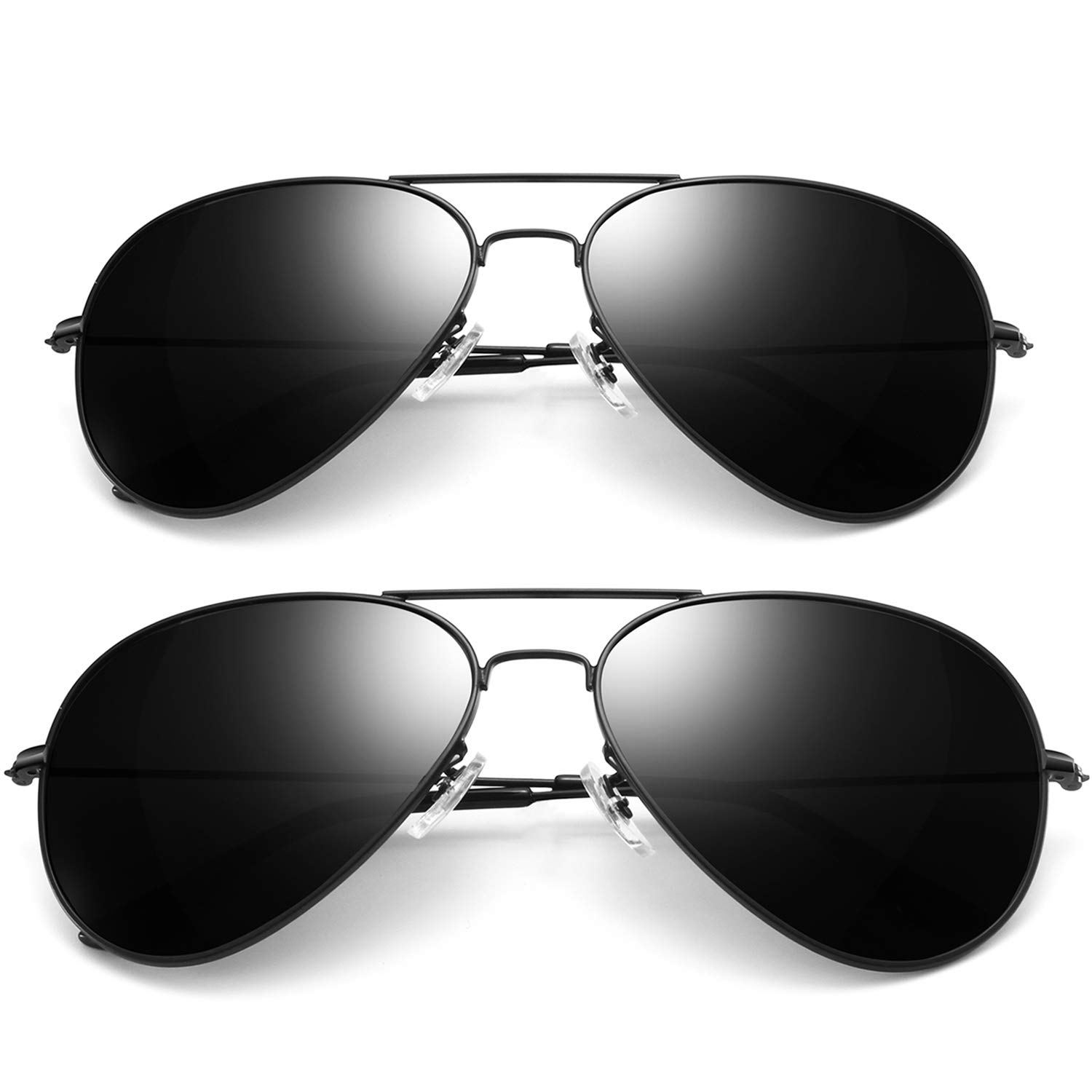Joopin Aviator Sunglasses for Men Women, 2 Pack Military Style Sunglasses Polarized (Black+Black) by Joopin