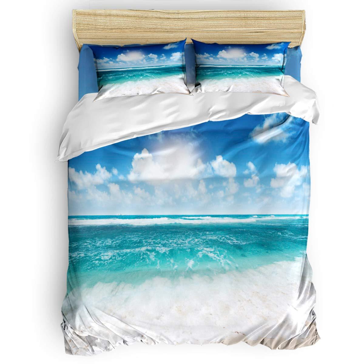 掛け布団カバー 4点セット ウィンドウビュー 熱帯の風景 ビーチとヤシの木 寝具カバーセット ベッド用 べッドシーツ 枕カバー 洋式 和式兼用 布団カバー 肌に優しい 羽毛布団セット 100%ポリエステル クイーン B07TF8Z91P Beach5LAS5674 クイーン