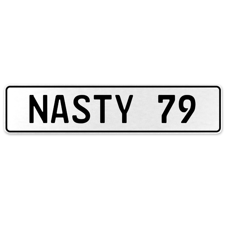 Vintage Parts 556953 Nasty 79 White Stamped Aluminum European License Plate