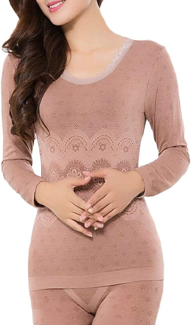 Jmwss QD Womens Slim Fit Round Collar Lightweight Solid Thermal Underwear Set