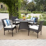 Great Deal Furniture Carmela Outdoor 5pc Multibrown Wicker Dining Set For Sale