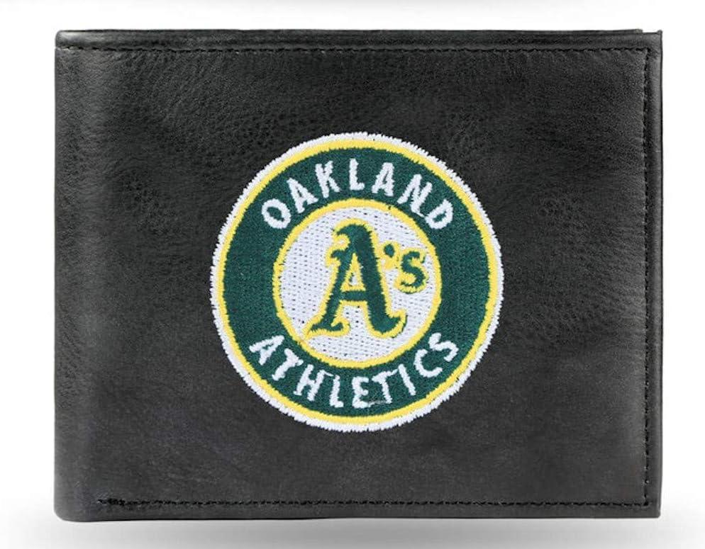Rico Oakland Baseball As Athletics Embroidered Black Leather Bi-fold Billfold Wallet