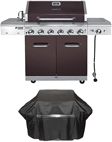 Nexgrill Deluxe 6-Burner Propane Gas Grill in Mocha with Ceramic Searing Side Burner Plus Grill Cover