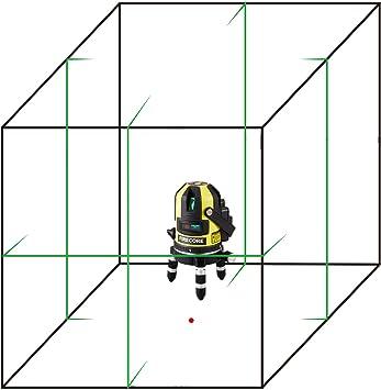 Firecore FIR411G Selbstnivellierend 50m im Freien 5 Linienlaser-Ebene und Plumb Point mit Detektor Gr/ün