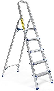 Cosway - Escalera de aluminio, escalera de patas multiusos con bandeja de herramientas, capacidad de carga 150 kg, color plateado, plateado: Amazon.es: Bricolaje y herramientas