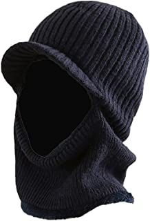 Winter Warm Mask Hat Windproof Knitted Hat Visor Beanie Neck Warmer Hat for Men Women (Navy Blue)