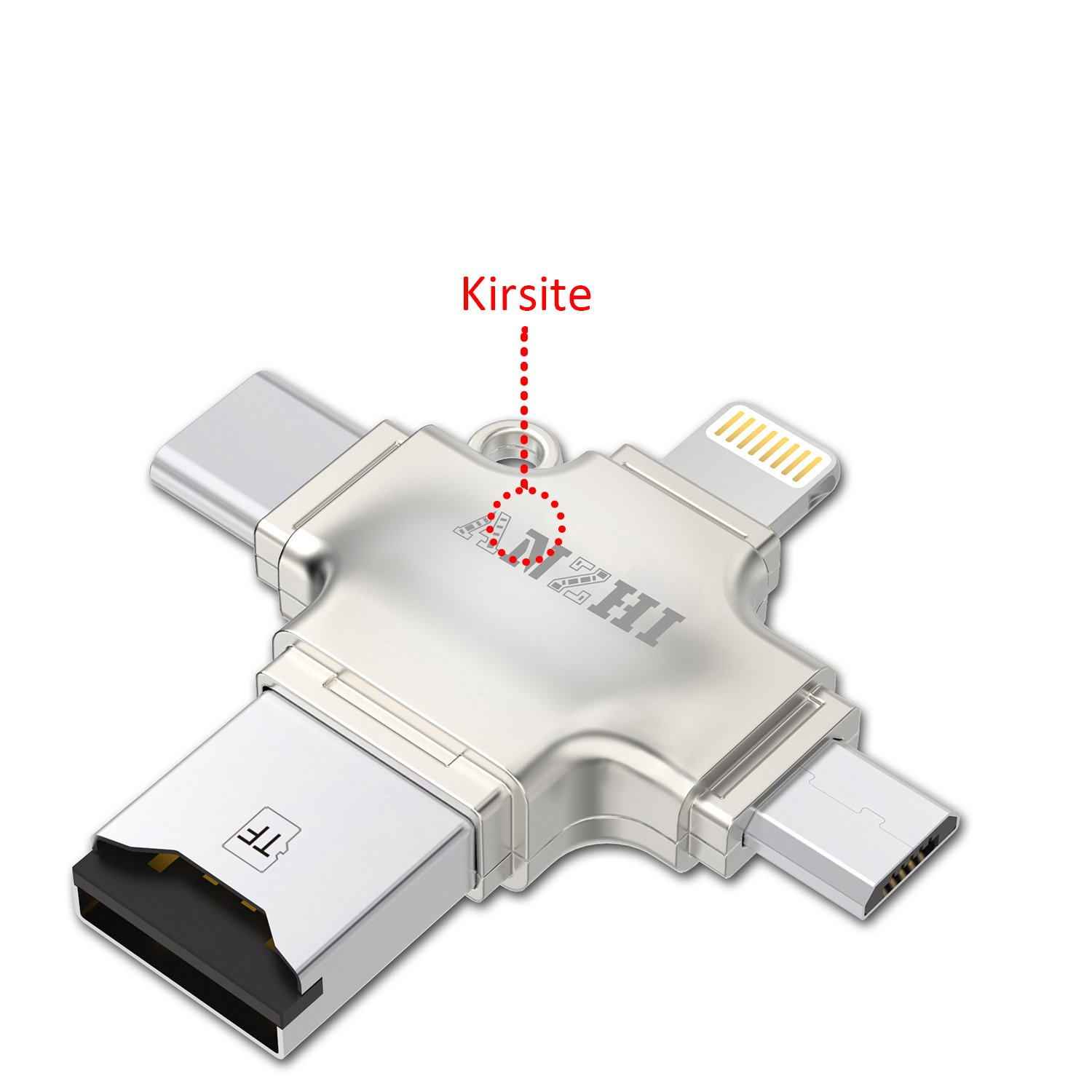 Anzhi Metal Shell 4 In 1 Micro Sd Tf Card Reader Thermostat Wiring Diagram Free Picture Not Included With Lightning Usb Type C 20 A For Iphone Ipad Android