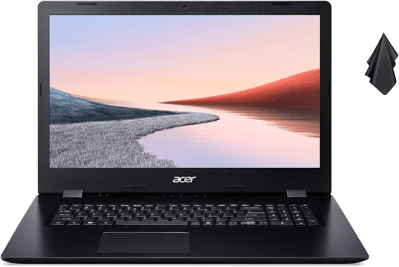 2021 Newest Acer Aspire 3 Laptop Computer, 17.3 inch HD+ Display, Intel Core i5-1035G1, 20G RAM, 256GB PCIe SSD + 1TB HDD, DVD, Webcam, Bluetooth, Wi-Fi, HDMI, Win10, Black + Oydisen Cloth