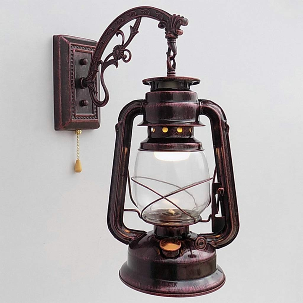 Retro Pull Chain Lantern Wall Lamp E27 Kerosene Wall Sconces