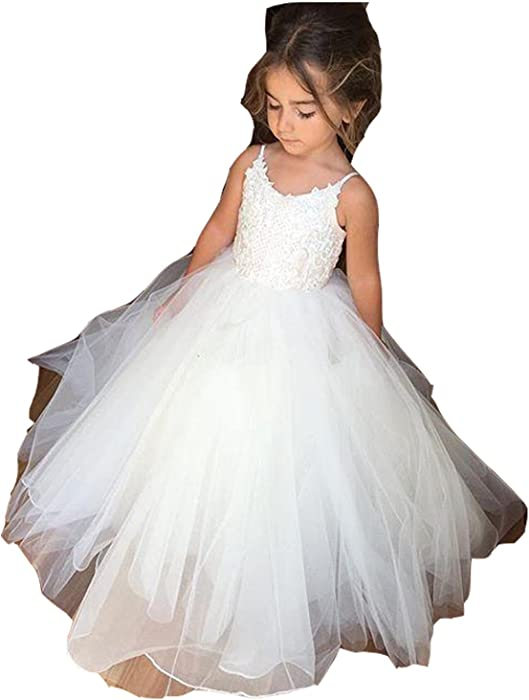 64943002a6a Amazon.com  Sweetylife Spaghetti Straps Lace Tulle Flower Girl Dress ...