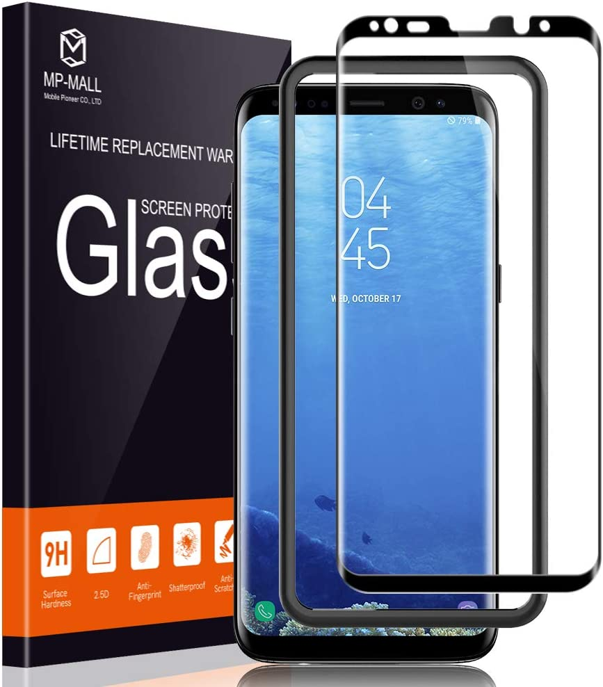 MP-MALL Screen Protector for Samsung Galaxy S8, [Tempered Glass] [Full Cover] [Alignment Frame Easy Installation] with Lifetime Replacement Warranty