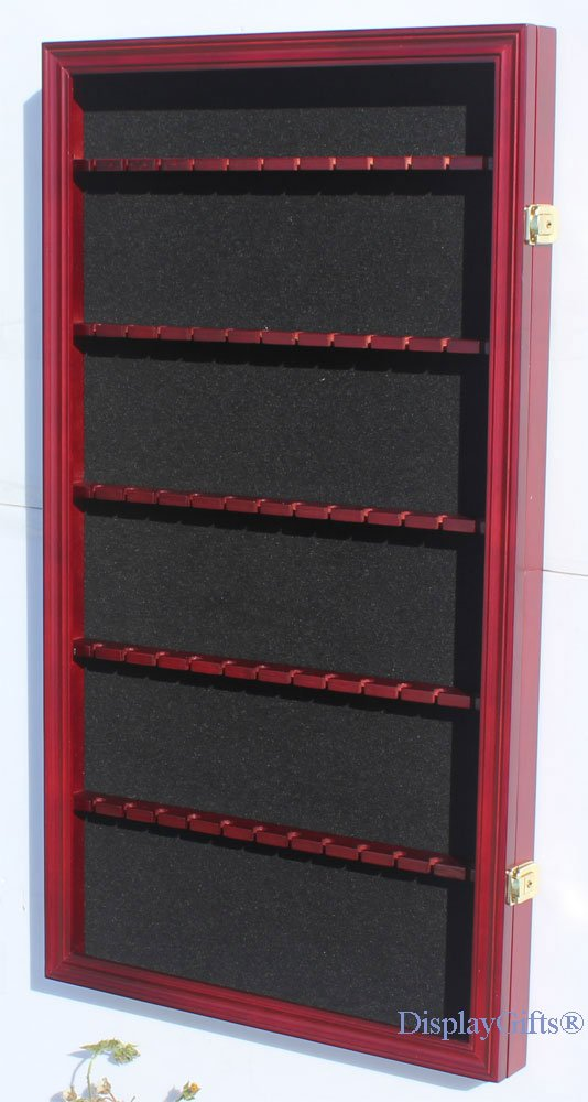 Black Finish 60 Spoon Rack Display Case Holder Wall Cabinet Lockable UV Protection
