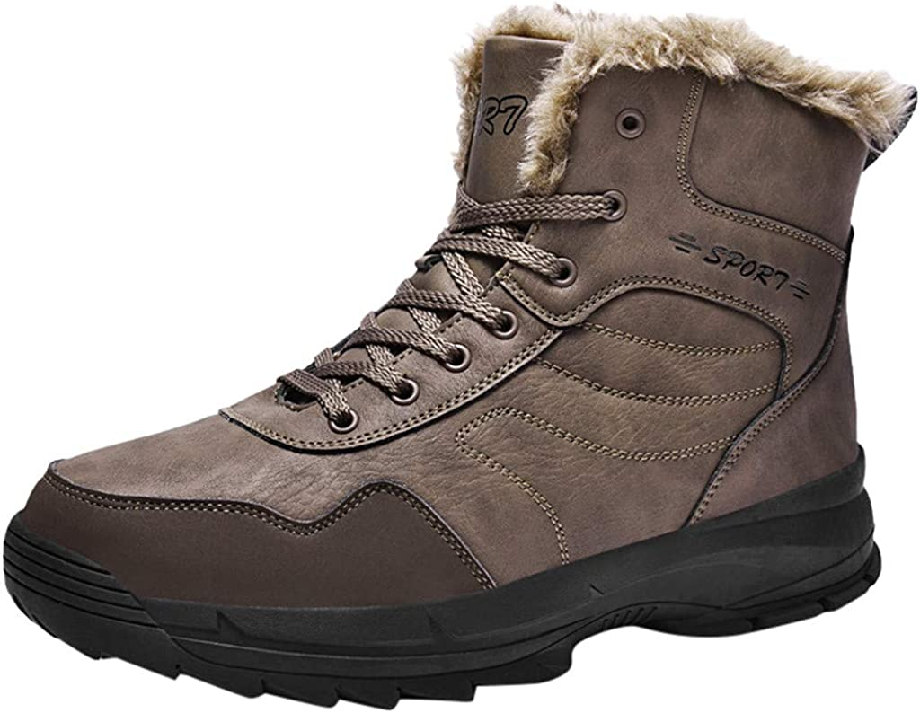 Gleamfut Mens Winter Velvet Snow Boots Outdoor Wear Non-Slip Casual Warm Tooling Boots