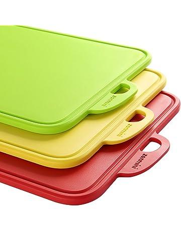 Zanmini Tablas de Cortar para Picar Conjunto de 3 Colores(rojo,amarillo,verde