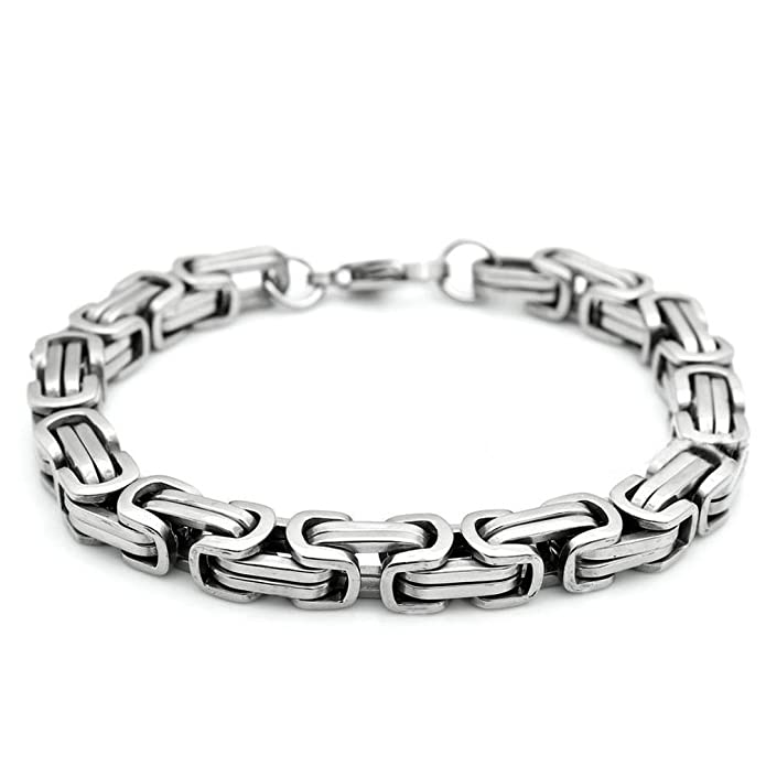 Sandra Design 18-40 Mens Stainless Steel Heavy Wide 9Mm Silver Byzantine Box Chain Necklace