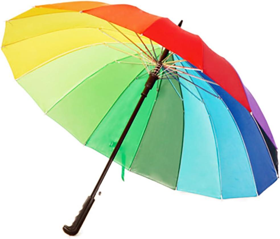 Fablcrew Parapluie Cannes Automatique avec 16 Baleines Incassable Anti Vent Anti Retournement Anti-Glisse Parapluie Arc-en-Ciel pour Homme Femme