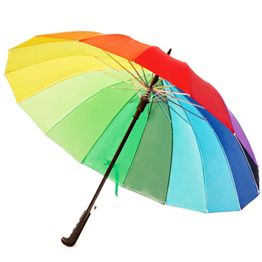 qinlee自動Rainbowレインボー傘防風傘ファッションロングハンドルストレート紫外線対策Sun/Rain傘   B07FPFC1TN