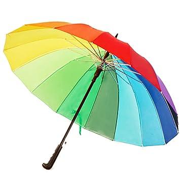 Chakil - Paraguas de arcoíris Resistente al Viento, Mango Largo automático, Paraguas Recto,