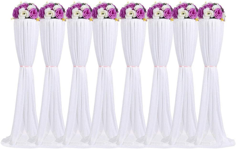 NICE CHOOSE Silk Pillar Column Stand Set, 8Pcs Artificial Flower Column Display Wedding Centerpiece Plastic Road Lead Flower Rack with Cloth Cover for Birthday Event Party Ceremony Decoration