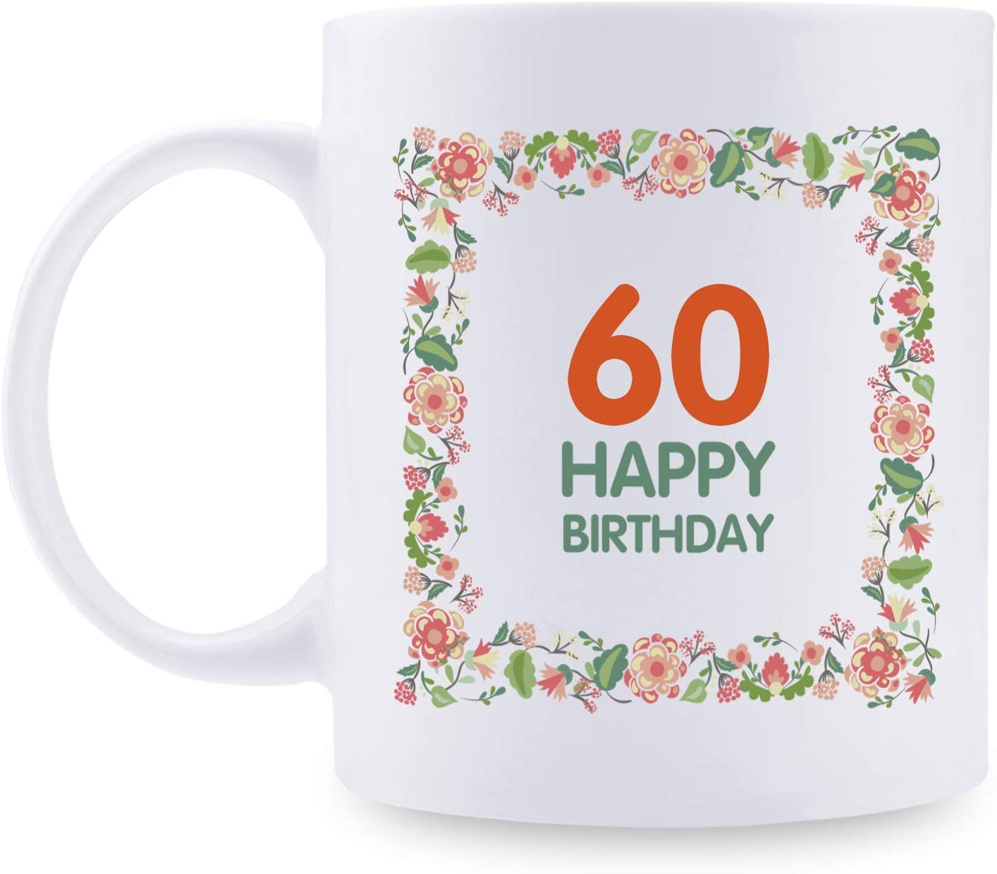 60th Birthday Gifts for Women - 1959 Birthday Gifts for Women, 60 Years Old Birthday Gifts Taza de café para mamá, esposa, amiga, hermana, ella, colega, compañera de trabajo - Taza de flores