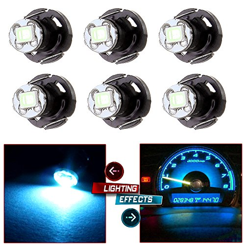 cciyu 6 Pack Ice Blue T4/T4.2 Neo Wedge 2835SMD LED Dash Climate HVAC control Light Bulbs For 2002-2006 Toyota Camry -
