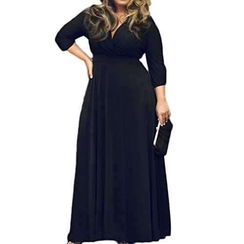 POSESHE Womens Solid V-Neck 3/4 Sleeve Plus Size Evening Party Maxi Dress