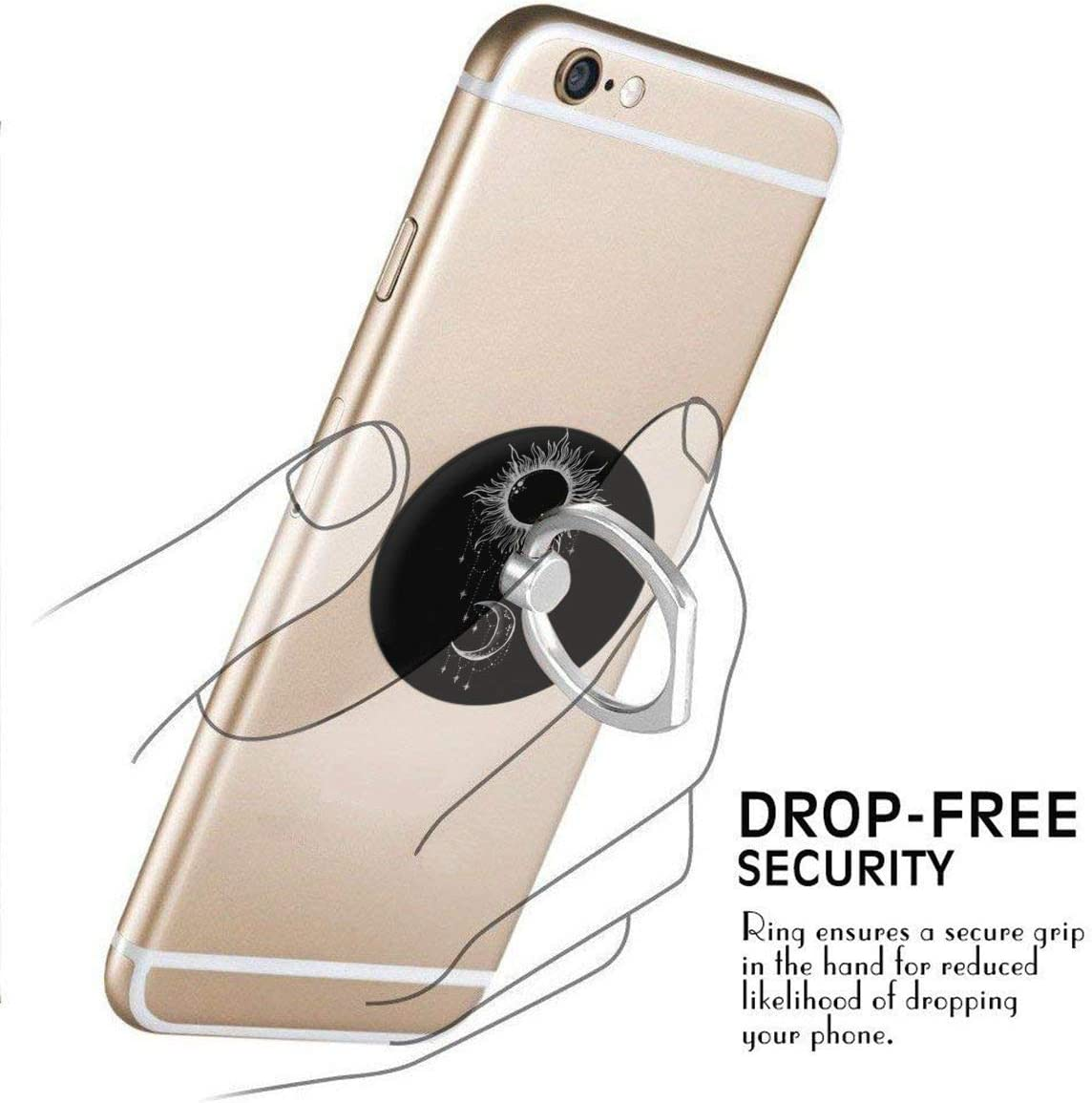 Phone Ring Cell Phone Ring Holder Finger Kickstand,Rotation Stand Grip with Car Mount Compatible with Smartphone-Moon and Sun Boho
