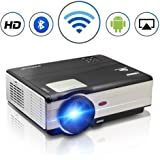 "TV Projector WiFi, 200"" Wireless Android Projectors Home Cinema Theater Support Full HD 1080P, LCD LED Video Projector with HDMI VGA USB AV TV Audio Port for Indoor Outdoor Movies Gaming BBQ Party"