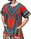 RaanPahMuang Spearhead Heart African Dashiki Shirt Vibrant Colors Afrika Style, XXXXXX-Large, Maximum Red