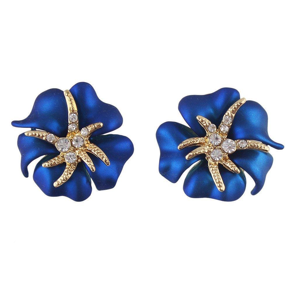 Feelontop® Elegant Red Blue Enamel Rhinestone Flower Stud Earrings with Jewelry Pouch ER-5294-BLUE
