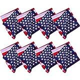 URATOT 6 Pack American Flag Printed Bandanas USA Flag Bandana Headband Cowboy Handkerchiefs Patriotic Accessories for Men and Women (American flag color, 6)