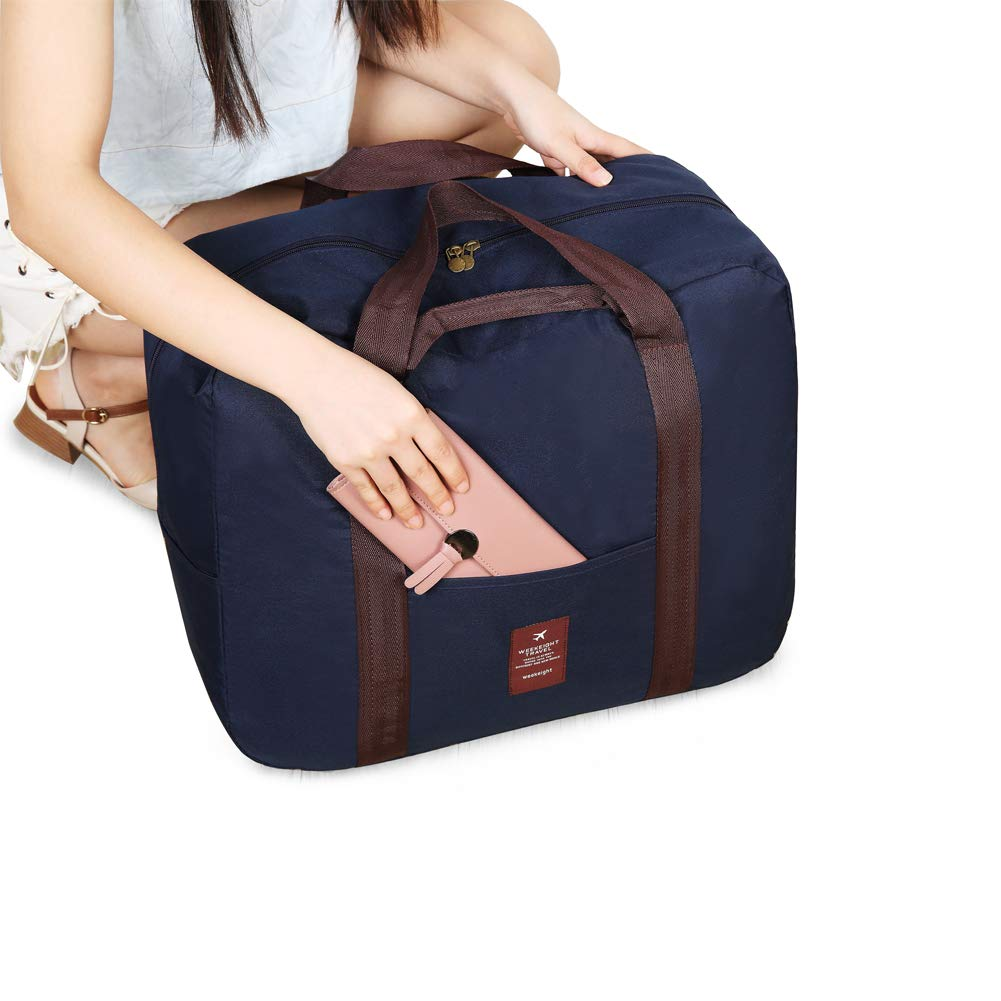 Navy Blue Foldable Travel Duffel Bag Carry on Luggage Bag with Trolley Sleeve for Women and Men Lightweight waterproof Storage bag
