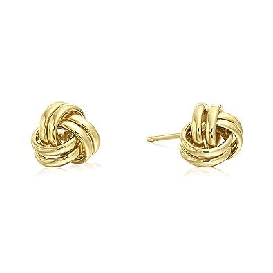1186c23f03f0a Tilo Jewelry 14k Yellow Gold Polished Love Knot Stud Earrings - 7mm