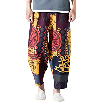Hombre Pantalones de harén retro vintage,Sonnena ⚽ pantalones largo suelto fashion Bohemian vintage estampado invierno otoño cintura elástica Hippies ...