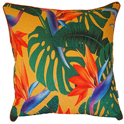 "Sunburst Outdoor Living TROPICAL (Quilted) Decorative Throw Pillow Covers With Piping (20"" x 20""), Poly-cotton Toss Cushion Cases for Couch, Sofa, Bedroom - Only Case, No Insert"
