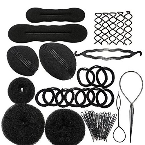 Zinnor 12 Pcs Hair Styling Accessories Kit Set Bun Maker Hair Braid Tool for Making DIY Hair Styles Black Magic Hair Twist Styling Accessories for Girls or Women