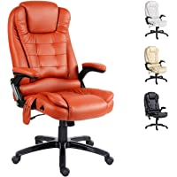 Artiss 8 Point Massage Executive Office Computer Chair Heated Recliner PU Leather High Back Adjustable Height Amber…