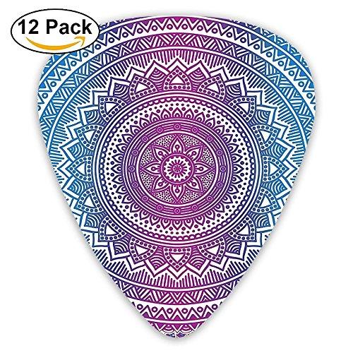 Newfood Ss Ombre Mandala Floral Star Medallion Pattern Guitar Picks 12/Pack Set -